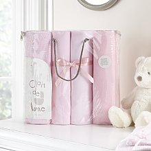 4 Piece Cot Bedding Set Clair De Lune Colour: Pink