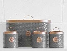 4 Piece Grey/Copper Bread Bin & Tea Coffee Sugar
