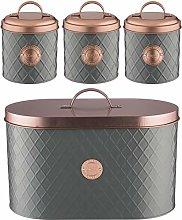 4 Piece Grey & Copper Kitchen Storage Canister Set