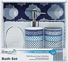 4 Piece Moroccan Shower Curtain and Accessory Set