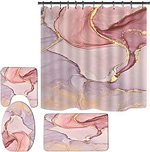 4 Piece Shower Curtain Set Teal Marble Design