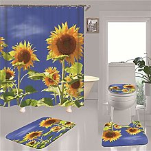 4 Piece Shower Curtain Sets with Non-Slip Rug,