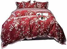 4 Pieces Bedding Sets Red and Pink Duvet Cover Set
