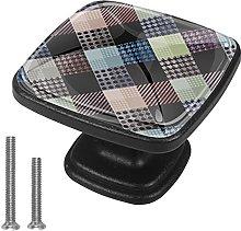 4 Pieces Furniture Wardrobe Knobs Checkered Square