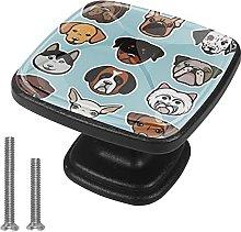 4 Pieces Furniture Wardrobe Knobs Dogs Square Desk