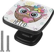 4 Pieces Furniture Wardrobe Knobs Owl Square Desk