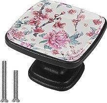 4 Pieces Furniture Wardrobe Knobs Pink Flowers