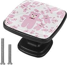 4 Pieces Furniture Wardrobe Knobs Pink Square Desk