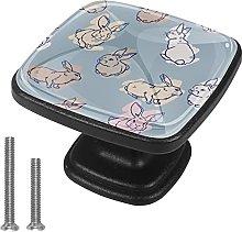 4 Pieces Furniture Wardrobe Knobs Rabbits Square
