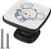 4 Pieces Furniture Wardrobe Knobs White Mouse