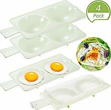 4 Pieces Microwave Egg Poacher 2 Cavity Egg