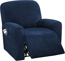 4-Pieces Recliner Chair Covers Velvet Stretch