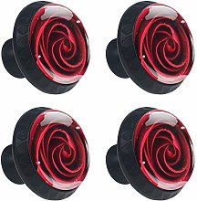 4 Pieces Red Rose Flower with Water Drops Drawer