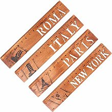4 Pieces Retro Literary Wooden Rulers, Hollow