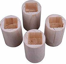 4 Pieces Wood Furniture Riser Round Square Hole