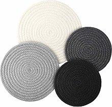 4 Pieces Woven Pot Trivet Set Braided Cotton Weave