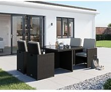 4 Seat Rattan Garden Cube Set in Black & White - 5 Piece - Barcelona - Rattan Direct