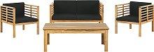 4 Seater Acacia Wood Garden Sofa Set Light Wood