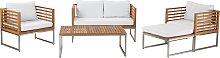 4 Seater Acacia Wood Garden Sofa Set White BERMUDA