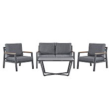 4 Seater Aluminium Garden Sofa Set Dark Grey DELIA