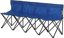 4-Seater Chair Bench w/ Cooler Bag Metal Frame