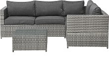 4 Seater Rattan Garden Corner Sofa Set Dark Grey