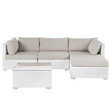 4 Seater Rattan Garden Corner Sofa Set White SANO