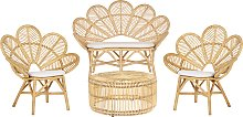 4 Seater Rattan Garden Sofa Set Beige FLORENTINE /