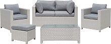 4 Seater Rattan Garden Sofa Set Grey MILANO