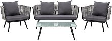 4 Seater Rattan Garden Sofa Set Grey RAGUSA