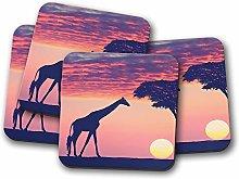 4 Set - African Sunset Coaster - Giraffe Nature