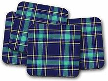 4 Set - Blue Tartan Coaster - Scotland Scottish