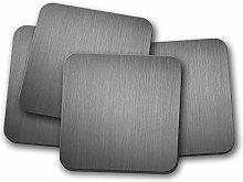 4 Set - Brushed Metal Effect Coaster - Metal Grey