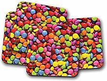 4 Set - Chocolate Sweets Coaster - Candy Colourful