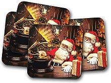 4 Set - Classic Santa Claus Coaster - Christmas
