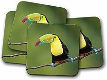 4 Set - Colourful Toucan Bird Coaster - Tropical