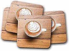 4 Set - Cute Coffee Coaster - Heart Latte