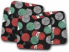 4 Set - Cute Knitting Drinks Coaster - Knit Wool
