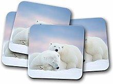 4 Set - Cute Polar Bear Coaster - Bears Mum Sister