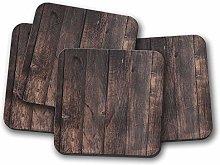4 Set - Dark Wood Coaster - Wooden Effect Joiner