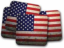 4 Set - Distressed USA Flag Coaster - Vintage