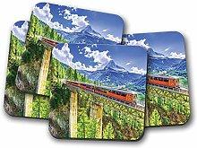 4 Set - Gornergrat Mountain Train Coaster -