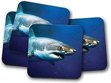 4 Set - Great White Shark Cork Backed Drinks
