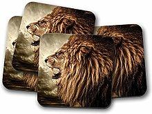 4 Set - Majestic Lion Coaster - Big Cat Pride