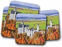 4 Set - Neuschwanstein Castle Germany Coaster -