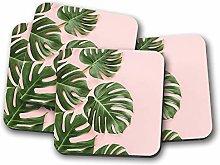 4 Set - Palm Tree Leaves Coaster - Leaf Pink