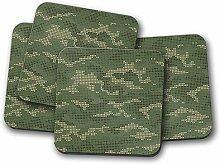 4 Set - Pixel Camouflage Drinks Coaster - Camo