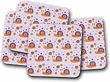 4 Set - Purple Snails Drinks Coaster - Flowers