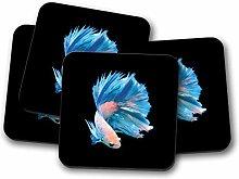 4 Set - Siamese Fighting Fish Coaster - Betta