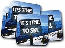 4 Set - Skiing Coaster - Ski Mountain Sign Snow